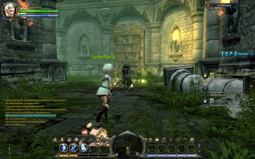 Dragon Nest Screenshot mit Waldi-Charakter und cooler Armbrust