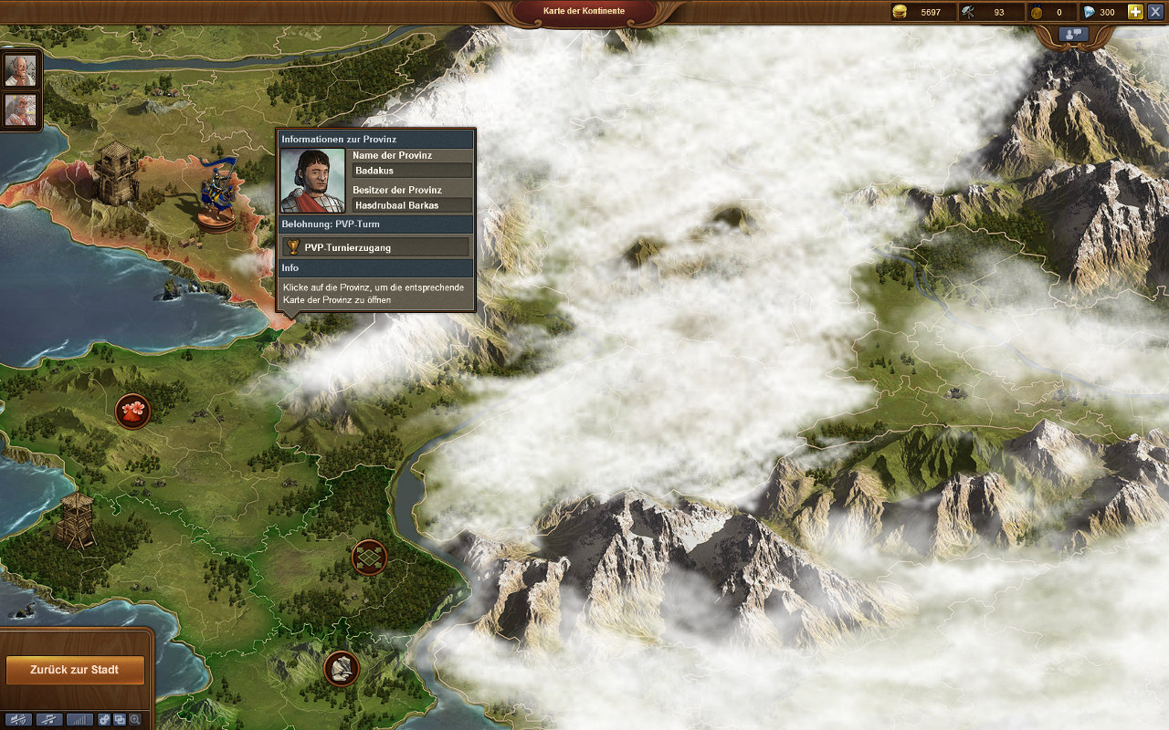 Forge of Empires Gameplay-Screenshot: Weltkarte mit verschiedenen Profinzen