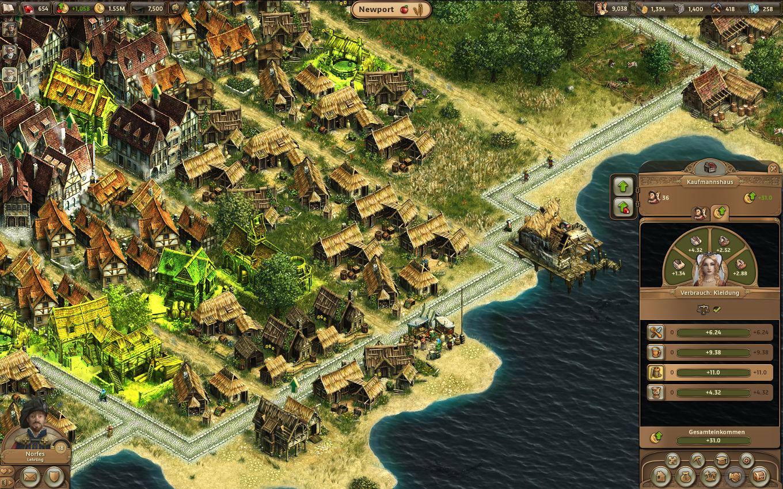 Anno Online Gameplay-Screenshot: Waren-Bedürfnisse eines Kaufmannshaus