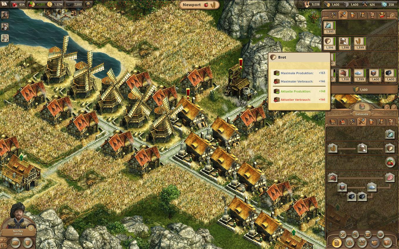 Anno Online Gameplay-Screenshot: Brot-Wirtschaftszewig mit Vorgeschmack aufs Fleisch