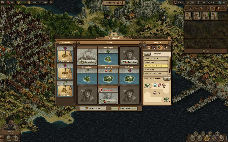 Anno Online Gameplay-Screenshot: Zusätzliche Inseln mit Warentransporte (persistent & änderbar)