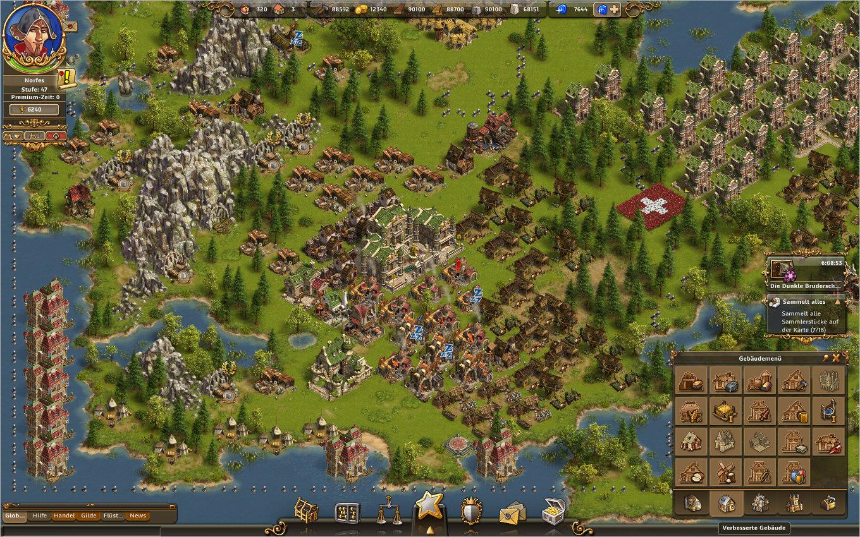 Die Siedler Online Gameplay Screenshot: Inselausschnitt mit eingeblendetem Baumenü, Aktives Abenteuer und Inselquest.
