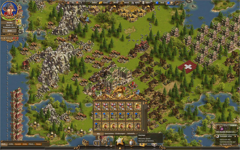 Die Siedler Online Gameplay Screenshot: Das Sternenmenü - Angezeigt werden gerade Spezialisten wie Generäle, Entdecker und Geologen.