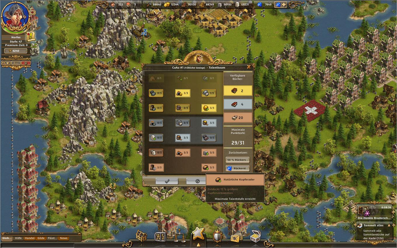 Die Siedler Online Gameplay Screenshot: Der Geologe & sein Talentbaum.