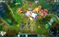Prime World Screenshot #6 - Helden mit befreundeten Einheiten treffen auf gegnerische Fraktion, bestehend aus NPCs,Helden und Türmen.
